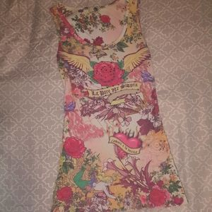 One World Floral Banner Print Studded Cotton Tank